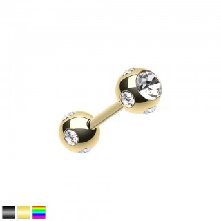 Coloured straight barbell with clear crystal paved balls