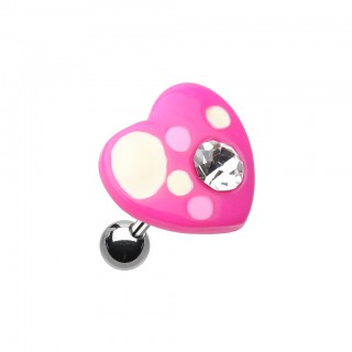Coloured acrylic heart top with crystal on helix piercing - Pink