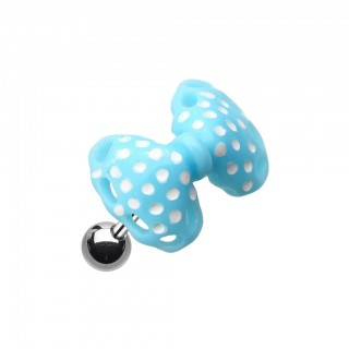 Coloured acrylic dotted bow-tie top on helix piercing - Light Blue