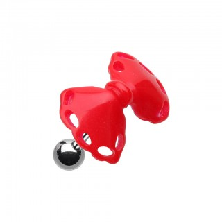 Coloured acrylic bow-tie top on helix piercing - Red