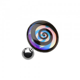 Kraakbeen piercing met glow in the dark swirl
