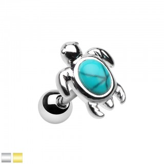 Coloured cartilage ear piercing with turquoise sea turtle