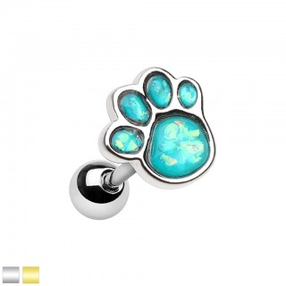 Coloured cartilage piercing with opal blue dog paw
