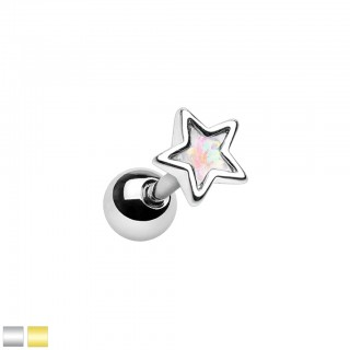 Coloured cartilage piercing with white opal star top
