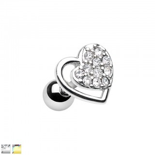 Cartilage piercing with heart top and crystal heart