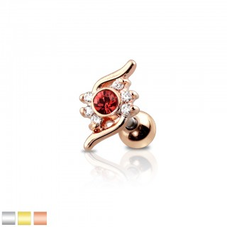Coloured cartilage stud with flamed pattern and crystal