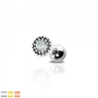 Cartilage stud with 4 mm clear bezel crystal