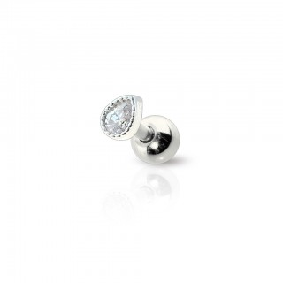 Silver cartilage stud with clear crystal in tear drop
