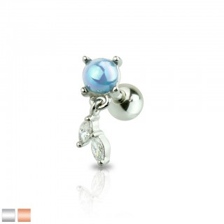 Cartilage piercing with leaf dangle and prong set pearl