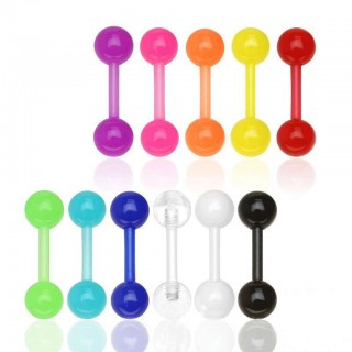 Coloured UV reacting straight acrylic barbells