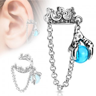 Clip on helix ring with crown and dragonclaw with ball