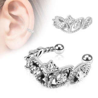 Clip on helix ring with shiny crown