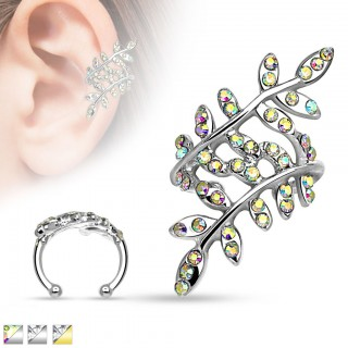 Clip on helix piercing with crystal covered branches