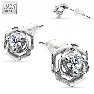 Crystal encased rose sterling silver ear piercings