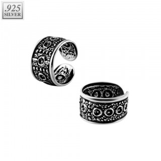 Ear cuff of .925 sterling silver with circles pattern