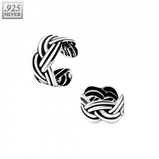 Ear cuff of .925 sterling silver with weaved pattern