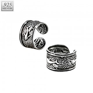 Helix cuff of .925 sterling silver with dolphins
