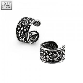 Ear cuff of .925 sterling silver with flower design