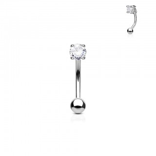 Gebogen barbell met gekleurde prong set ronde diamant