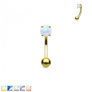 Curved barbell with coloured prong set opal stone