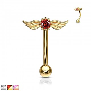 Round crystal with angel wings top curved barbell piercing