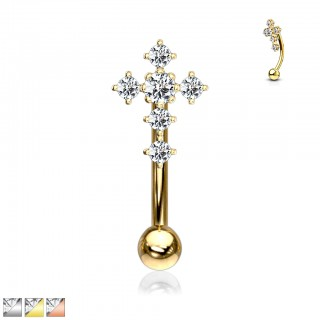 Clear crystal paved cross topped curved barbell piercing
