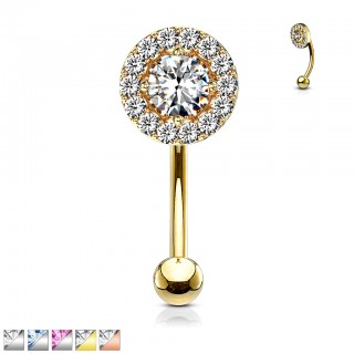 Crystal engraved curved barbell with large central gem
