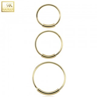 Solid 9 kt. yellow gold nose ring with bar