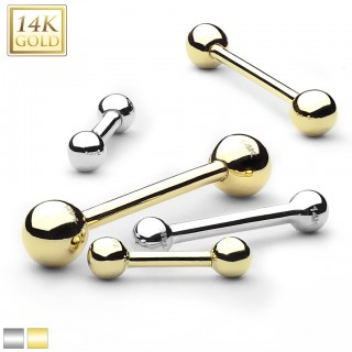 14 kt. gold barbell piercing with balls