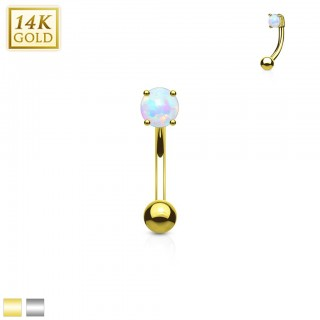 14 Kt. gold eyebrow piercing with round opal stone