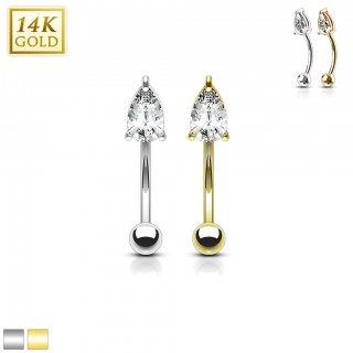 Solid gold curved barbell with pronged tear drop gem
