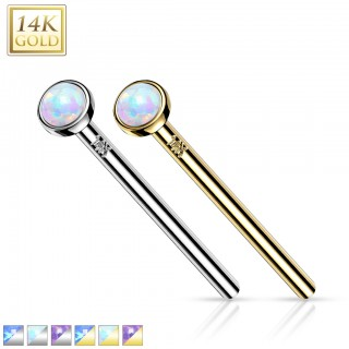 14 Kt. gold nose fishtail with bezel set opal stone