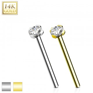 Solid gold fishtail nose stud with clear crystal