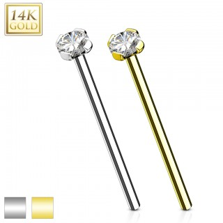 Long 14 Kt. gold fishtail nose piercing with clear jewel
