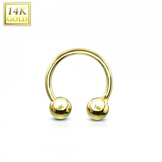 14 Kt. gold circular barbell with balls