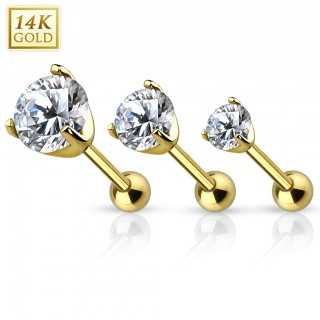 14 Kt. gold cartilage piercing with clear crystal