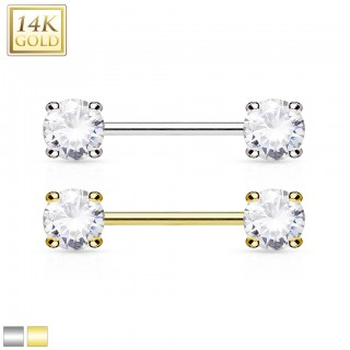 14 Kt. gold nipple piercing with gems