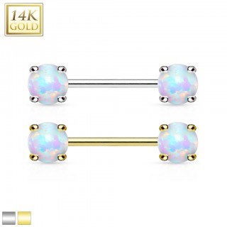 14 Kt. gold nipple bar with opal stones