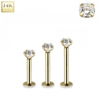 Solid 14kt gold internally threaded labret with clear crystal