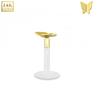 Bioflex labret with 14kt. gold modern butterfly top