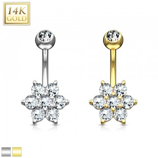 14 Kt. gold belly ring with crystal flower