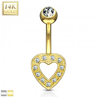 14 Kt. gold belly ring with open crystal heart