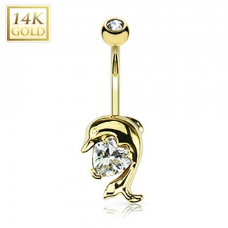 14 Kt. gold belly ring with dolphin and crystal heart