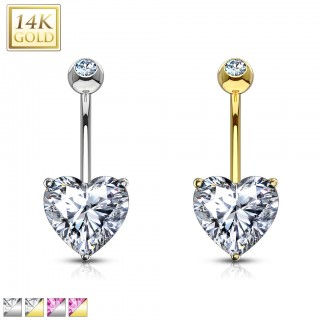 Solid gold belly piercing with coloured crystal heart