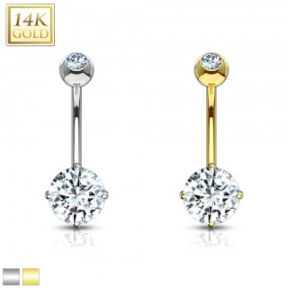 14 Kt. gold belly ring with prong set crystal