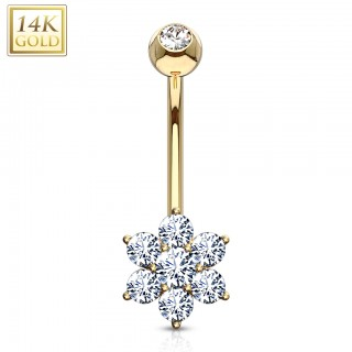 14 Kt. gold belly button piercing with crystal flower