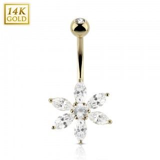 14 Kt. gold belly button piercing with long crystal flower