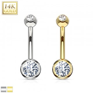 14 Kt. gold belly bar with clear crystallised balls