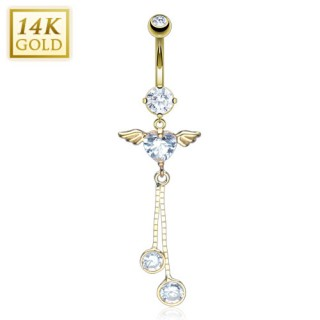 Solid gold belly ring with crystal heart and angel wings