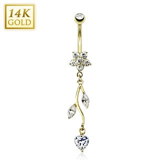 Solid gold belly ring with crystal heart and flower